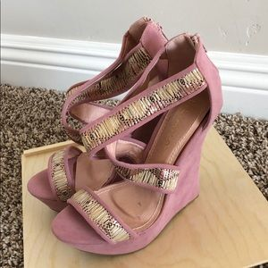 New blush open toe platform wedge sandals
